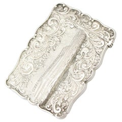Antique 1850 Victorian Sterling Silver Card Case