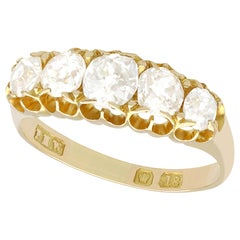 Antique 1858 1.51Ct Diamond and Yellow Gold Five Stone Ring