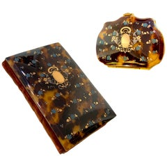 Antique 1863 Genuine Tortoise Shell Coin Purse and Notebook Ensemble