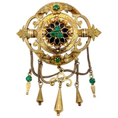 Antique 1865 Gothic Revival Brooch Emerald Wood 14 Karat Two Color Gold, Italy