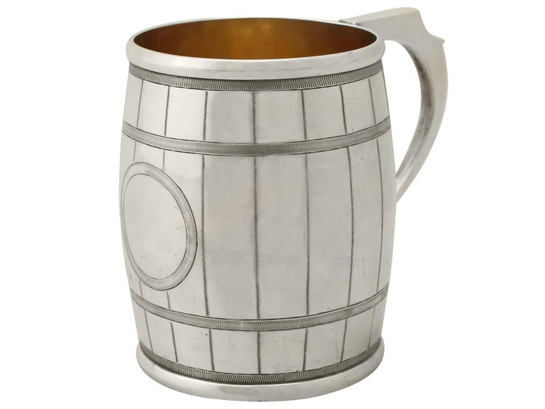 Victorian Antique 1870s Sterling Silver 'Barrel' Christening Mug by George Adams For Sale