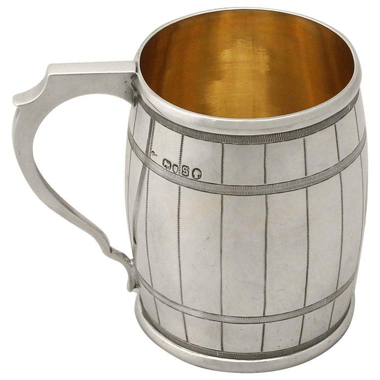 Antique 1870s Sterling Silver 'Barrel' Christening Mug by George Adams For Sale