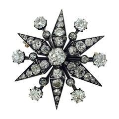 Antique 1880-1910 White Old Cut Diamond Broach