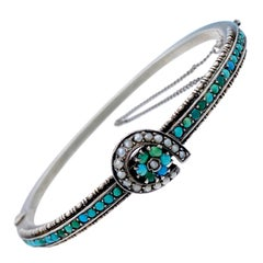 Antique 1880 Victorian Horseshoe Good Luck Bangle Turquoise Pearl Silver