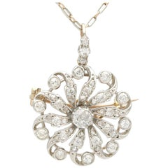 1880s Antique 1.79 Carat Diamond and Yellow Gold Pendant Brooch