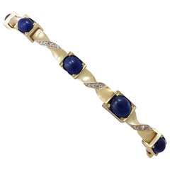 Antique 1880s Austrian Sapphire and Diamond Yellow Gold Bracelet