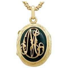 Antique 1880s Bloodstone and Yellow Gold Locket
