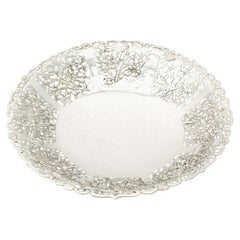 Antique 1880s Chinese Export Silver Fruit Dish