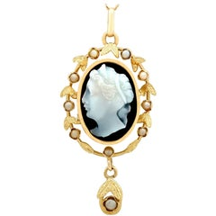 Antique 1880s Hardstone and Seed Pearl Yellow Gold Cameo Pendant