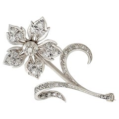 Antique 1.89 Carat Diamond and Yellow Gold Silver Set Floral Brooch