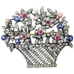 Antique 1890-1910 White Diamond Blue Sapphire Pearl Ruby Broach in 14 Karat Gold