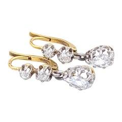 Antique 1890 Belle Époque Rose Diamond 14 Karat Gold Platinum Drop Earrings