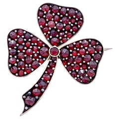 Antique 1890 Three Leaf Clover Good Luck Token Bohemian Garnets Brooch