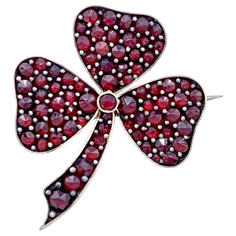 Antique 1890 Three Leaf Clover Good Luck Token Bohemian Garnets Brooch For Sale