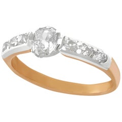 Antique 1890s 0.41 Carat Diamond and Rose Gold with Silver Set Solitaire Ring