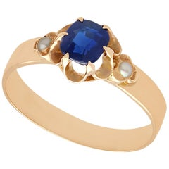 Antique 1890s 1.09 Carat Sapphire Pearl Yellow Gold Cocktail Ring