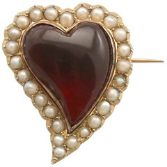 Antique 1890s 5.65 Carat Garnet and Seed Pearl Yellow Gold 'Heart' Brooch