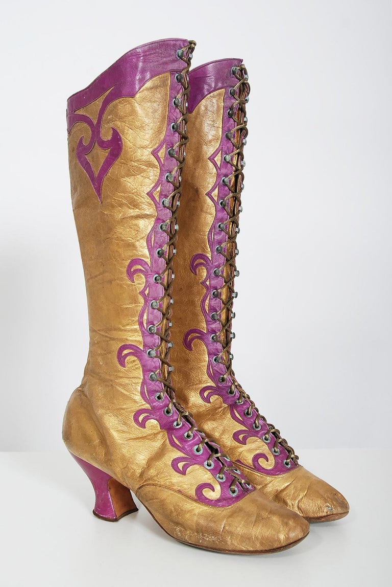 Vintage 1890's Cammeyer Couture Gold & Purple Leather Lace-Up Victorian Boots  For Sale 5
