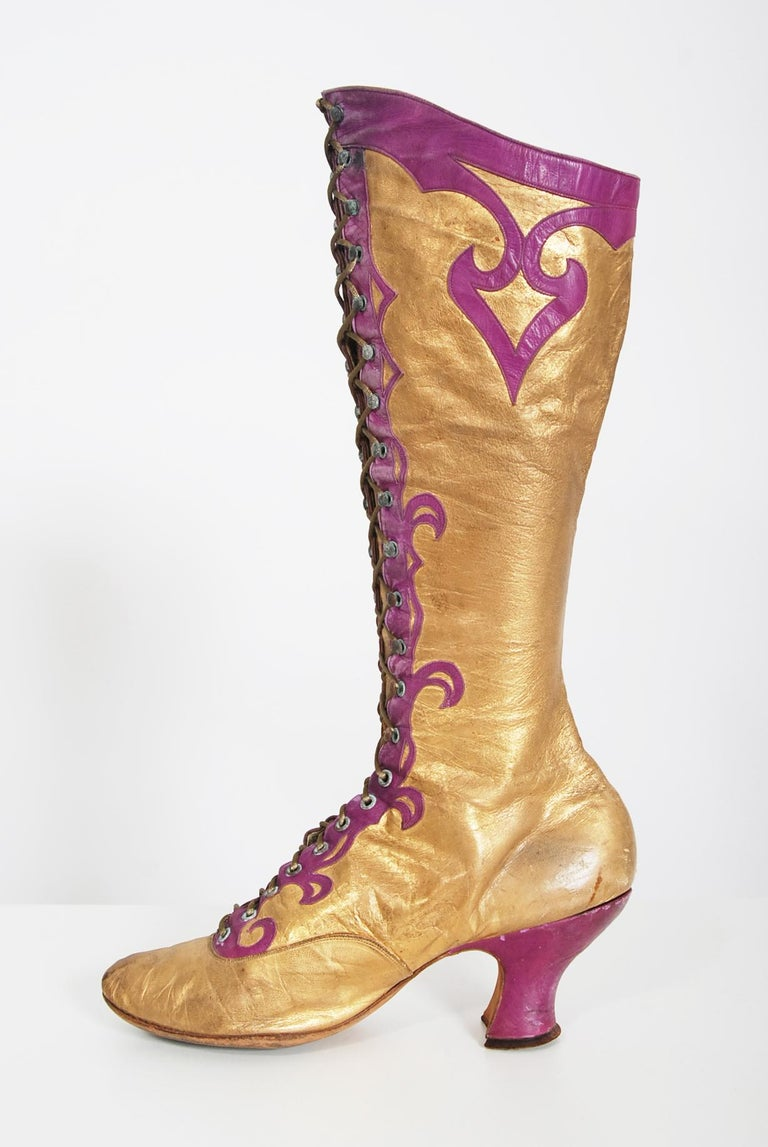 Breathtaking and incredibly hard-to-find pair of Alfred J. Cammeyer antique couture made boots dating back to the 1890's era of fashion. The shoes can be dated to this period by the combination of style and older Cammeyer label. During the Victorian