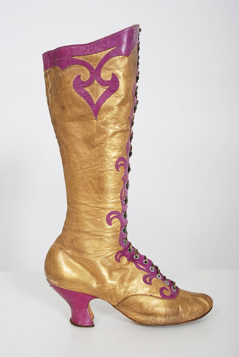 Brown Vintage 1890's Cammeyer Couture Gold & Purple Leather Lace-Up Victorian Boots  For Sale