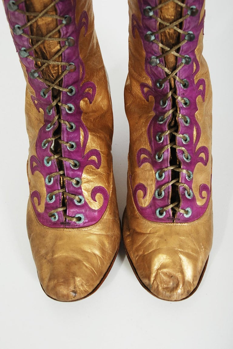Women's Vintage 1890's Cammeyer Couture Gold & Purple Leather Lace-Up Victorian Boots  For Sale