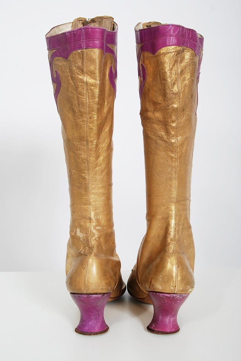 Vintage 1890's Cammeyer Couture Gold & Purple Leather Lace-Up Victorian Boots  For Sale 1