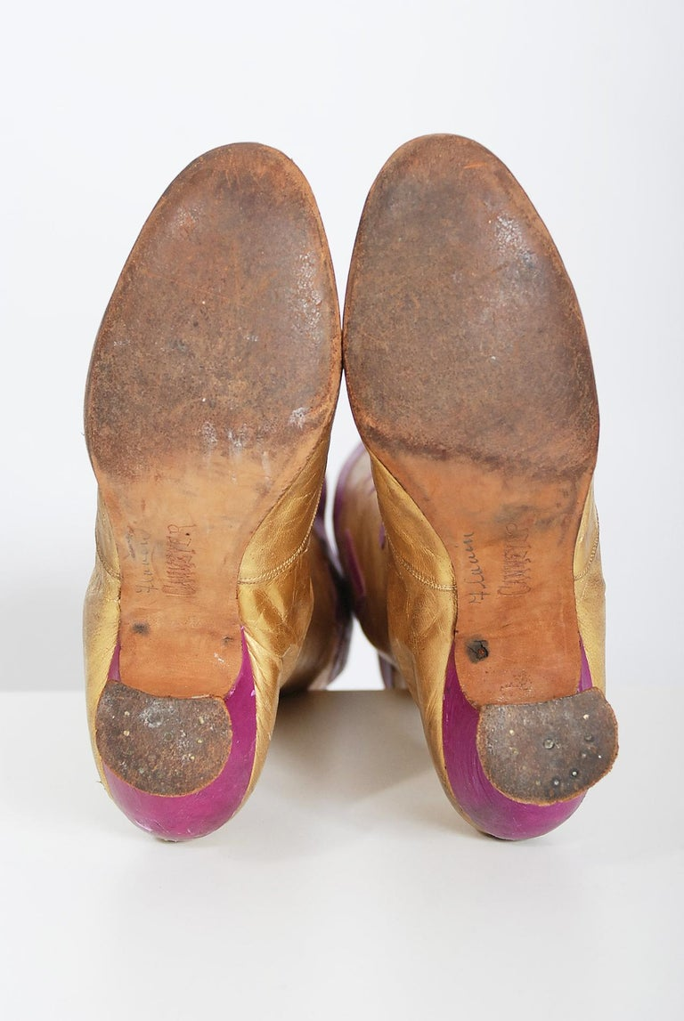 Vintage 1890's Cammeyer Couture Gold & Purple Leather Lace-Up Victorian Boots  For Sale 4
