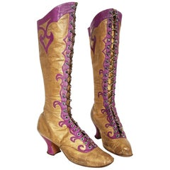 Antique 1890's Cammeyer Couture Gold & Purple Leather Lace-Up Victorian Boots