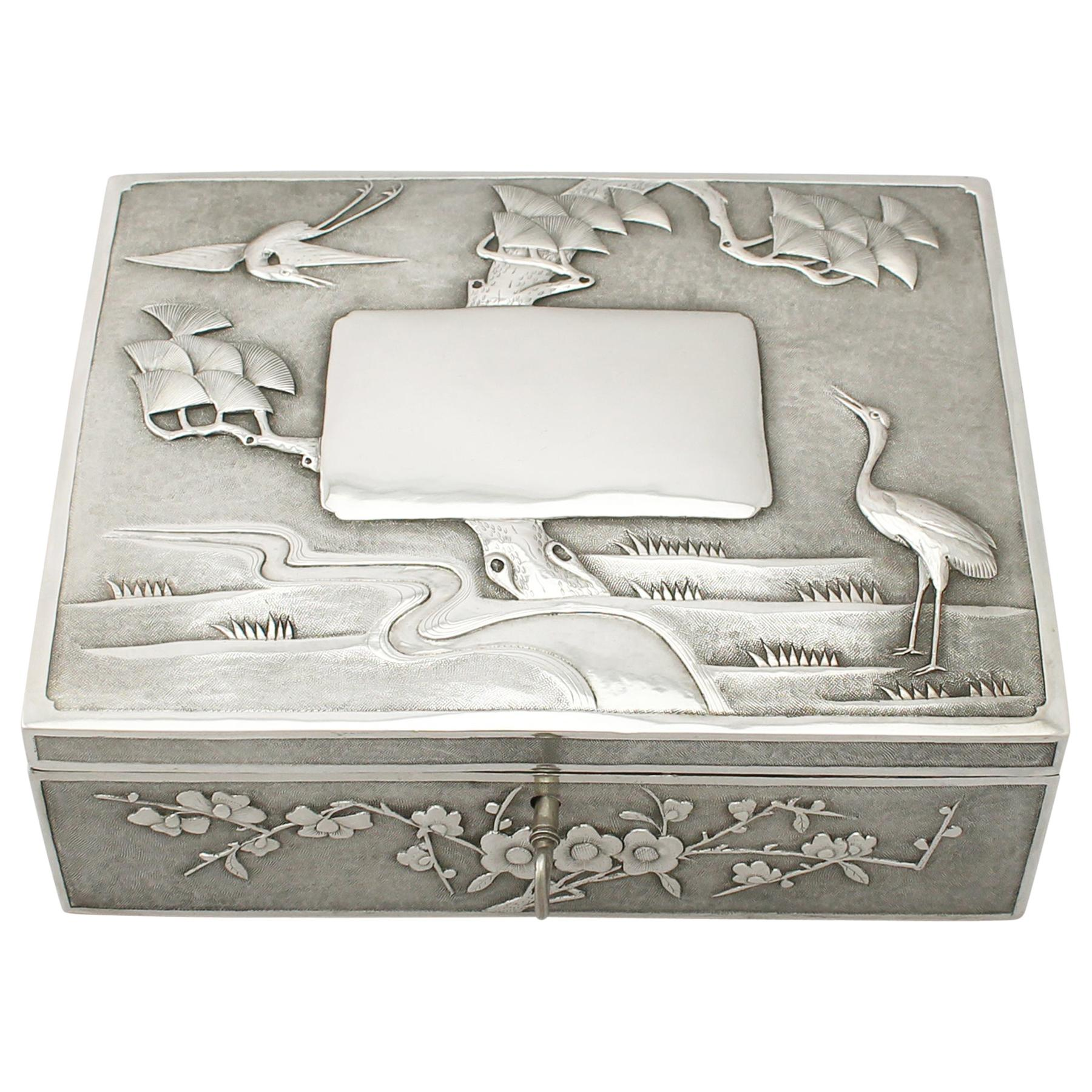 Antique 1890s Chinese Export Silver Locking Box