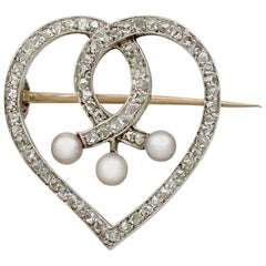 Antique 1890s Diamond Seed Pearl Yellow Gold 'Heart' Brooch