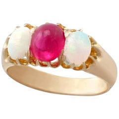 Antique 1890s Ruby and Opal Yellow Gold Three-Stone Ring
