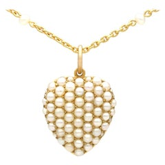 Antique 1890s Seed Pearl Yellow Gold Heart Shaped Pendant
