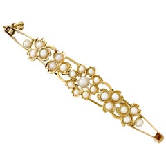 Antique 1890s Seed Pearl and Yellow Gold Bangle