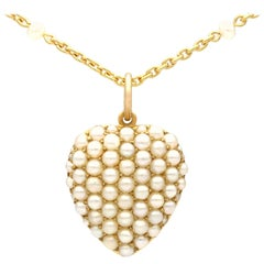 Antique 1890s Seed Pearl Yellow Gold Heart-Shaped Pendant