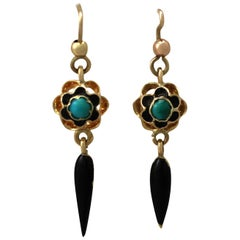 Antique 1890s Turquoise and Enamel Yellow Gold Earrings