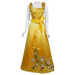 Antique 1895 French Couture Victorian Floral Embroidered Yellow Satin Gown