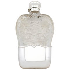 Antique 1897 American Sterling Silver and Glass Hip Flask