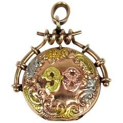 Antique 1898 Locket Tri Colored Gold Victorian perfume