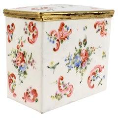 Antique 18c/19c English or French Enamel Bronze Mounted Tea Caddy Box