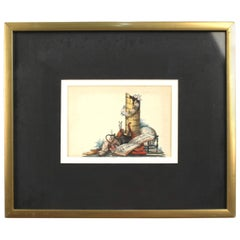 18th-19th Century English Watercolor Allegory of the Arts and Sciences Painting