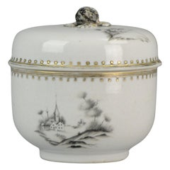 Antique 18C Chinese Porcelain Encre de Chine Lidded Jar Jesuit Church, China