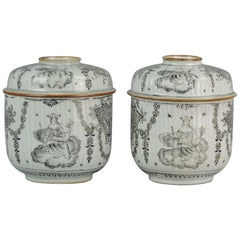 Antique Chinese Porcelain Encre de Chine Lidded Jars Relief Queen Throne