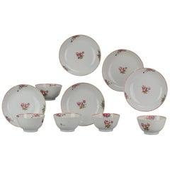 Antique Chinese Porcelain Familler Rose Qianlong Set Tea Bowls and Saucer F