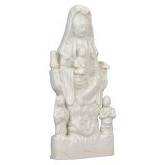 Antique 18th Century Dehua Blanc de Chine Statue Guanyin and Child Porcelain