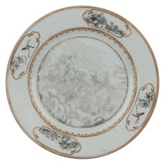 Antique 18c Encre de Chine Plate with Goddess Aurora on Horses Qianlong