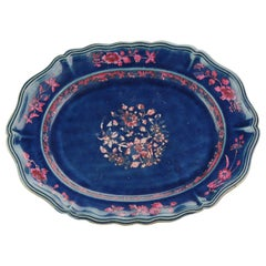 18th Century Large Serving Dish Qing Chinese Porcelain Blue Ground with Pink