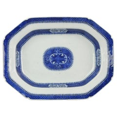 Antique 18th Century Large Serving Plate Jiaqing Qing Chinese Porcelain Blue and