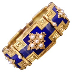 Antique 18 Carat Gold, Enamel and Pearl Bangle Bracelet