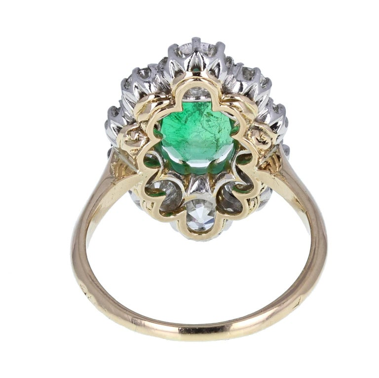Antique 18 Carat Gold Platinum Oval Emerald Diamond Navette Cluster Ring In Excellent Condition For Sale In Newcastle Upon Tyne, GB