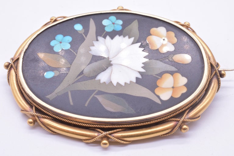 Antique 18 Carat Pietra-Dura Oval Flower Brooch with Intricate 18K Frame, c1860 For Sale 3